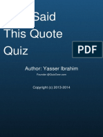 Who Said This Quote Quiz