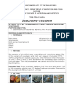 Laboratory Report #1 - Blanching of Foods