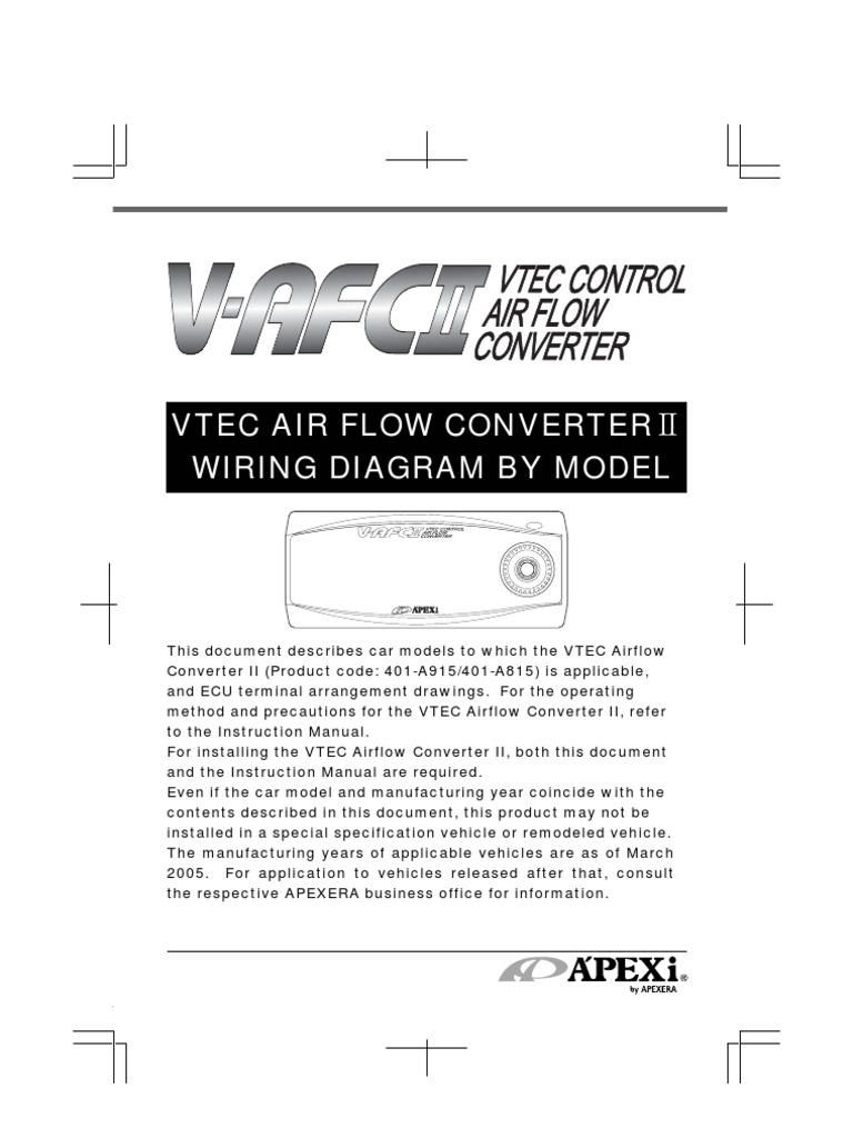 apexi installation instruction manual wiring diagram vtec airflow honda ignition diagram apexi installation instruction manual wiring diagram vtec airflow converter ii v afc 2 electrical connector distributor