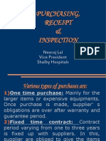 Purchasing, Receipt & Inspection of Material