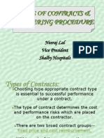 Type of Contracts and Tendering Procedure