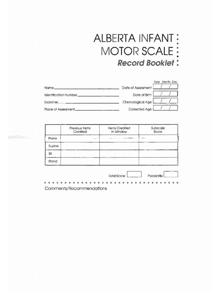 Alberta Infant Motor Scale Records Anatomical Terms Of