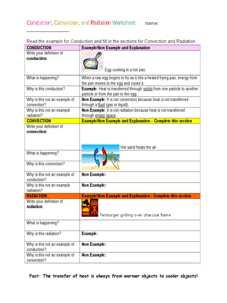 Worksheets Heat Transfer Worksheet heat transfer worksheet