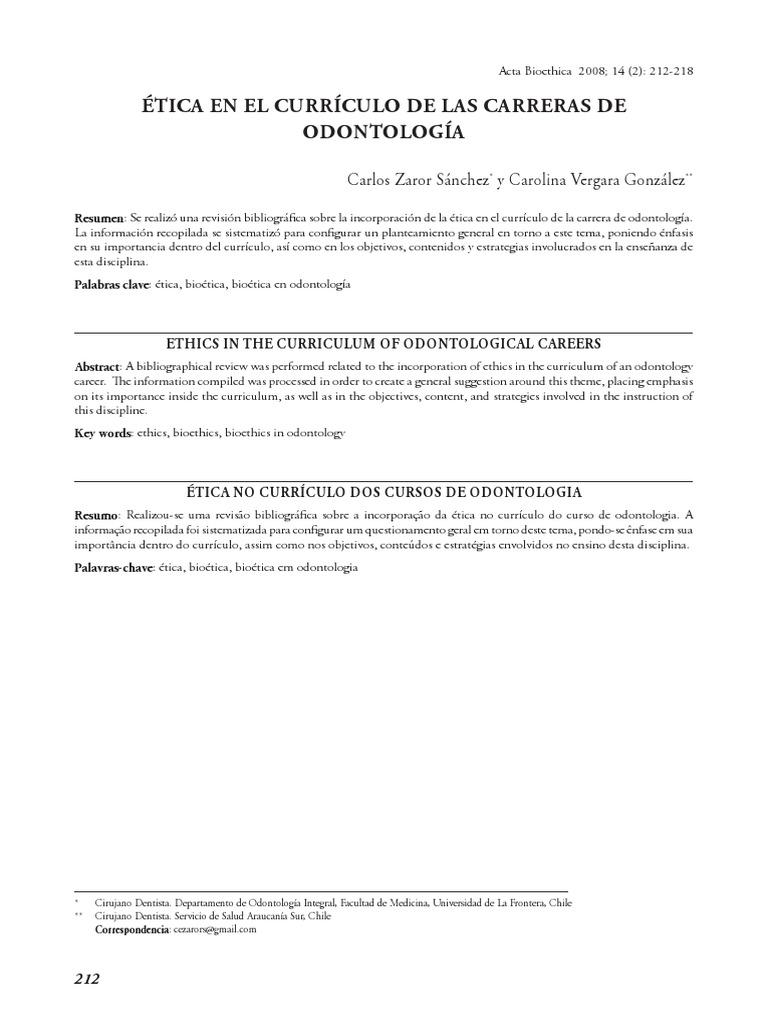 Etica en El Curriculo de Odontologia