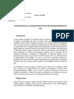 Insuficiencia en la calidad educativa de los colegios públicos de Santiago de Cali