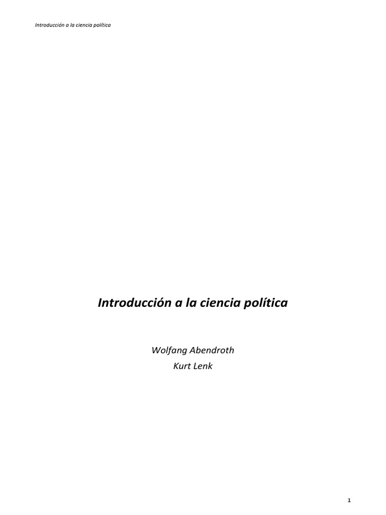 Introducción a la ciencia politica | Ciencias Políticas