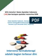 Bpjs Menurut Ikatan Apoteker Indonesia Iai Dan Kesiapan Apoteker Menerima Sjsn