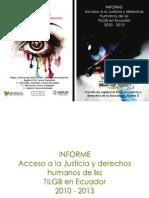 Informe Del Acceso a La Justicia y Derechos Humanos de Los Tilgb Glbti Lgbti Orientacic3b3n Sexual e Identidad de Gc3a9nero en El Ecuador 2010 Al 2013