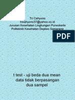 Statistik t Test Data Tak Berpasangan