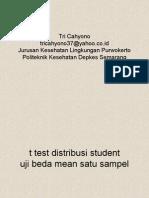 Statistik t Test Untuk Menguji Beda Mean