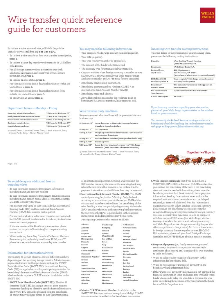 wells fargo wire transfer guide wire transfer financial services rh es scribd com Quick Reference Guide Layout Quick Reference Guide Template