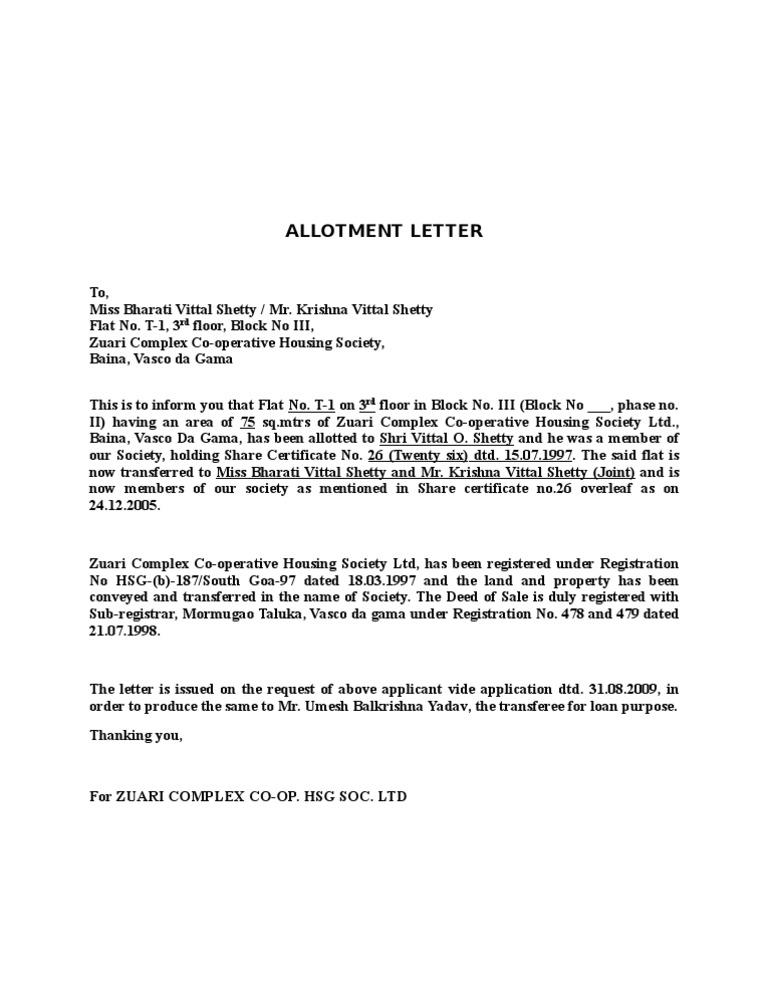 Allotment Letter