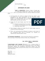 Affidavit of Loss - Template