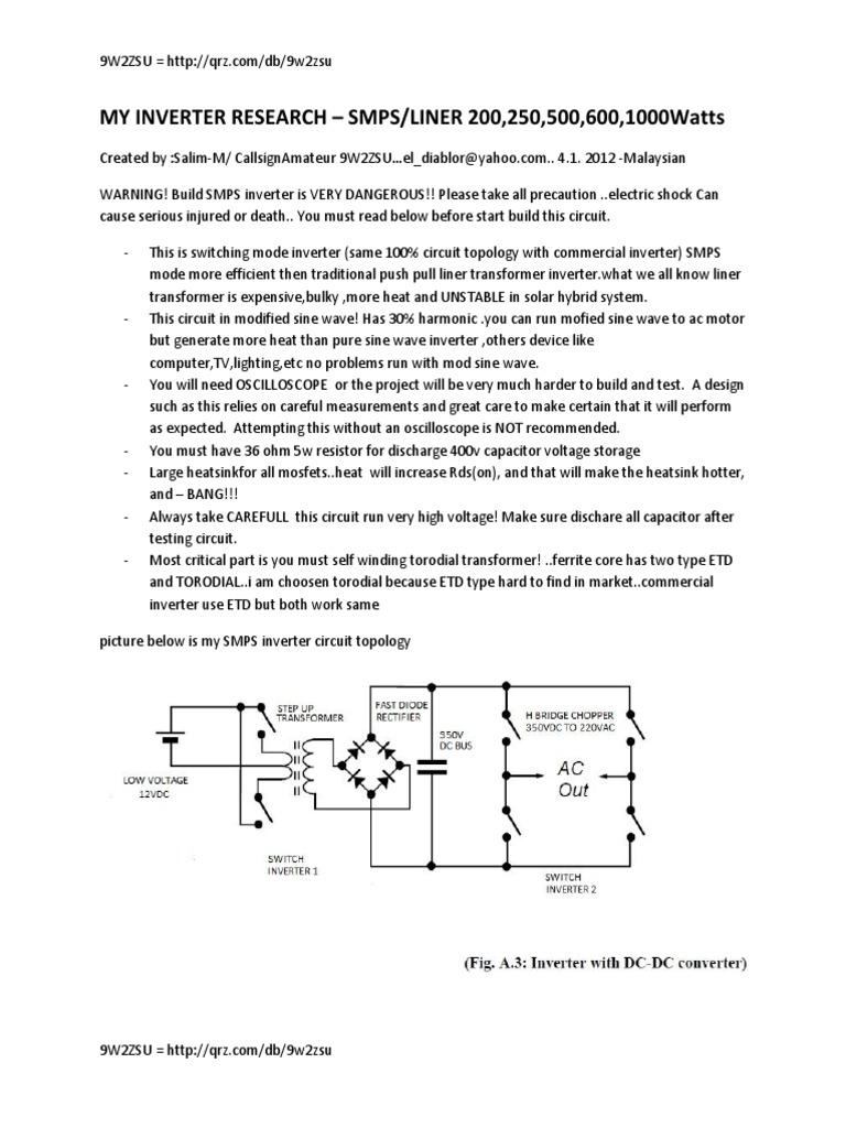 Switch mode inverter | Power Inverter | Transformer