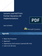 Lessons Learned From Former Dyanmics AX Implementations
