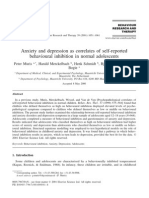 Anxiety and depression as correlates of self-reported behavioural inhibition in normal adolescents by Peter Muris (2001) - an article