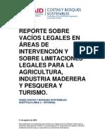 Reporte sobre vacios legales en las áreas de intervención y sobre limitaciones legales en turismo y otras actividades económicas