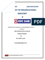 A Report on Organizational BEHAVIOUR of HDFC Bank
