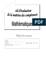 Evaluation MATHS MAITRE