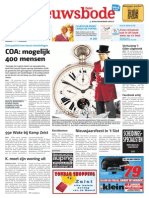 Goochelaar Aarnoud Agricola Voorpagina Nieuwsbode 2 Januari 2014 Theater Slot Zeist Goochelshow Hallo Wereld in 80 Dagen
