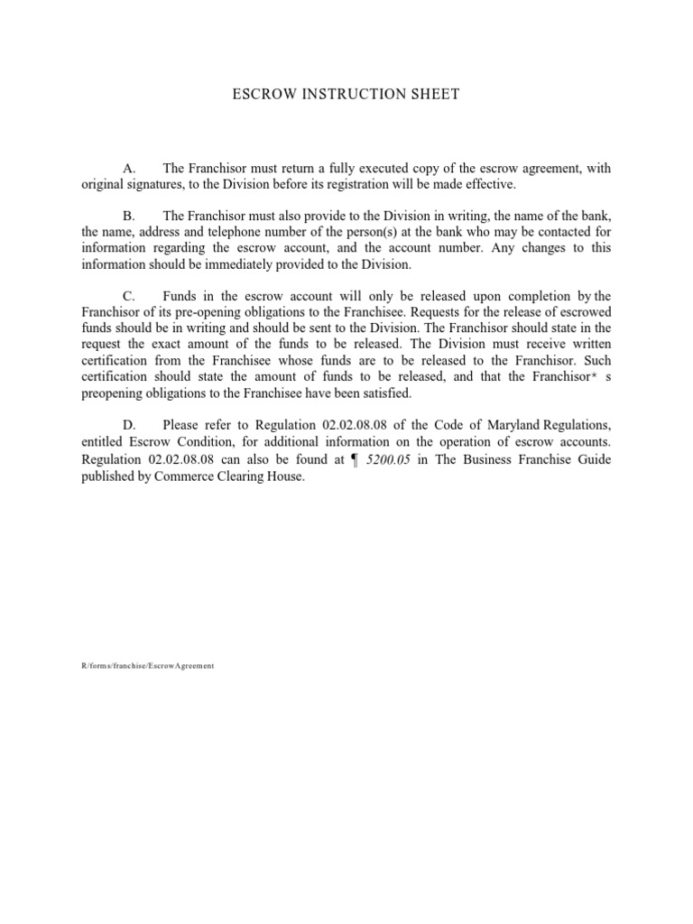 Escrow Agreement 1 Franchising Private Law