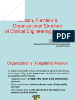 mission,function & organizational structure of clinical engi