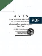 Avis aux bonnes ménagères (AA Parmentier,1777)
