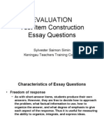 Lesson 5e Essay Questions Construction