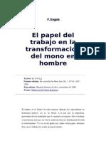 11 (1876) Engels. El Papel Del Trabajo en La Transformacion Del Mono en Hombre[1]