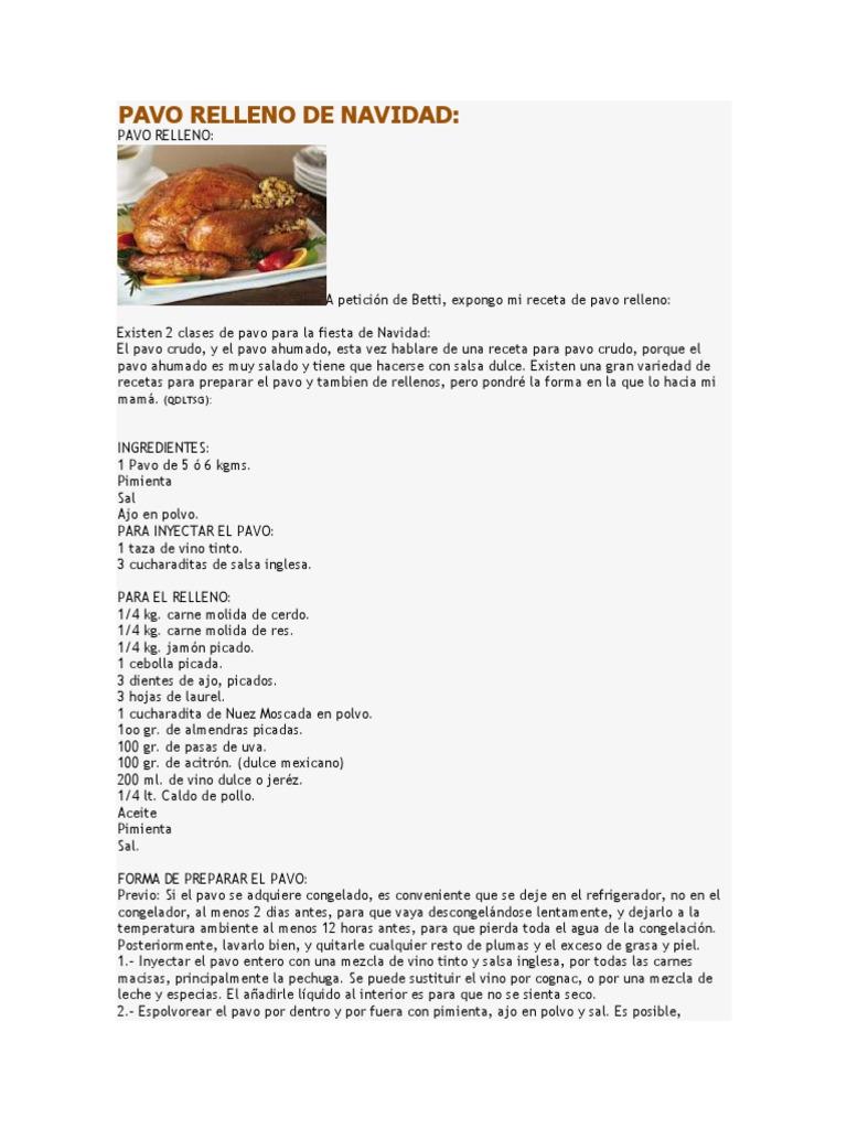 receta para preparar pavo ahumado relleno de carne molida