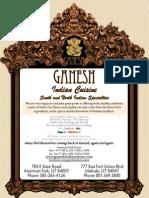 Menu @ Ganesh Indian Cuisine, American Fork