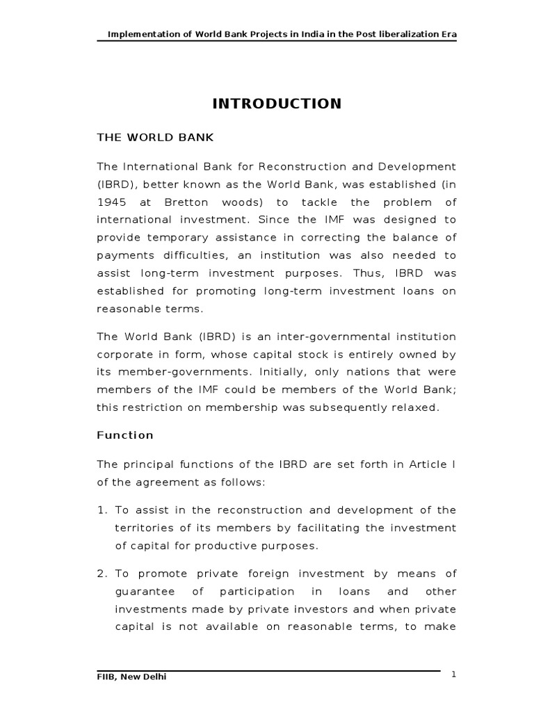 what is the function of the world bank