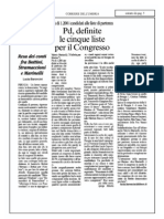 PD, Cinque Liste Per Il Congresso