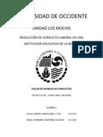 RESOLUCIÓN DE CONFLICTO LABORAL EN UNA INSTITUCIÓN