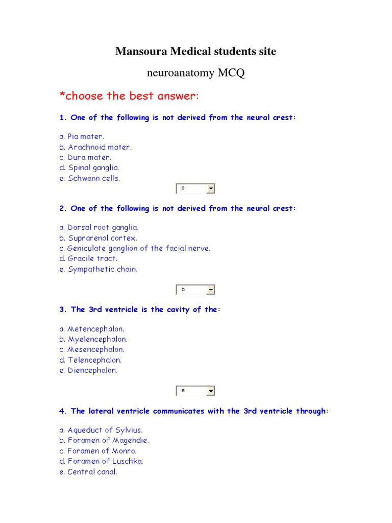 Neuroanatomy MCQ (1) | Spinal Cord | Cerebellum