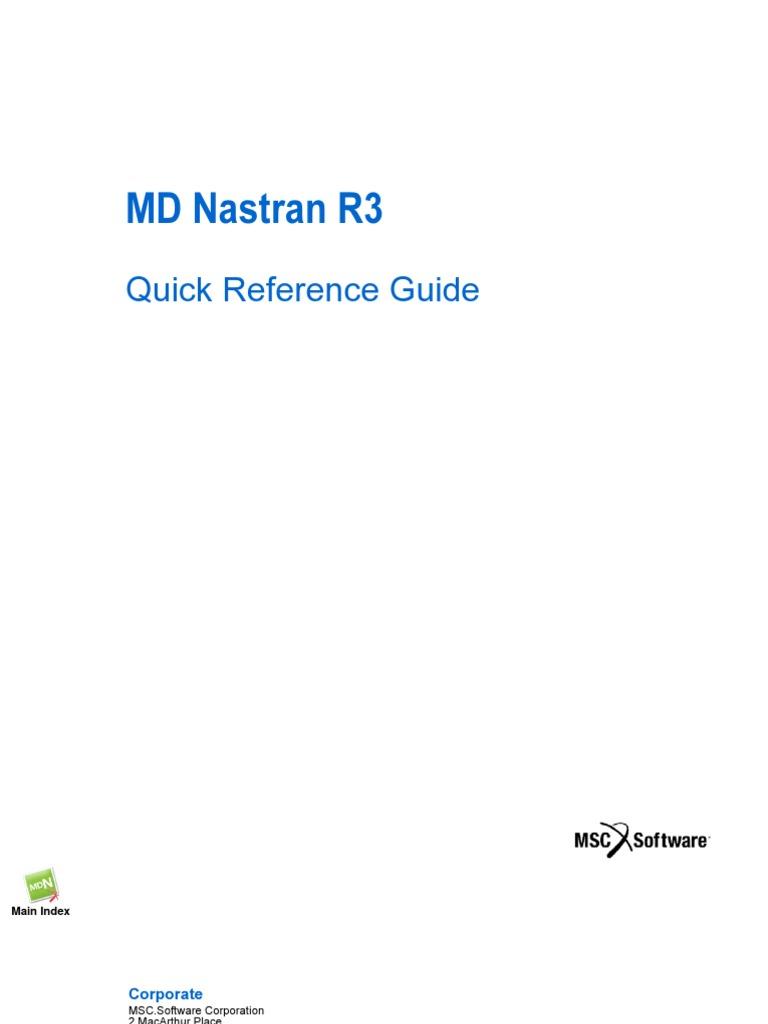 md nastran r3 quick reference guide rh scribd com nastran quick reference guide 2018 nastran quick reference guide pdf