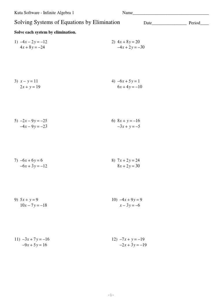 Kuta Worksheets Equations - Kidz Activities