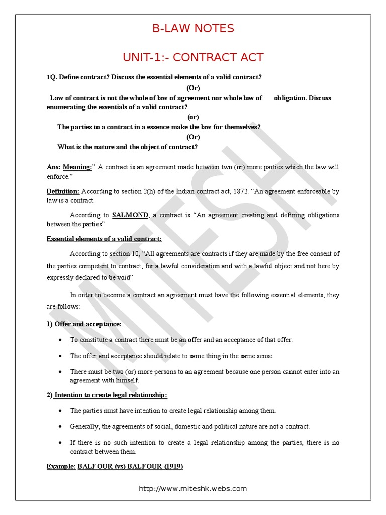 Business Law Offer And Acceptance Consideration