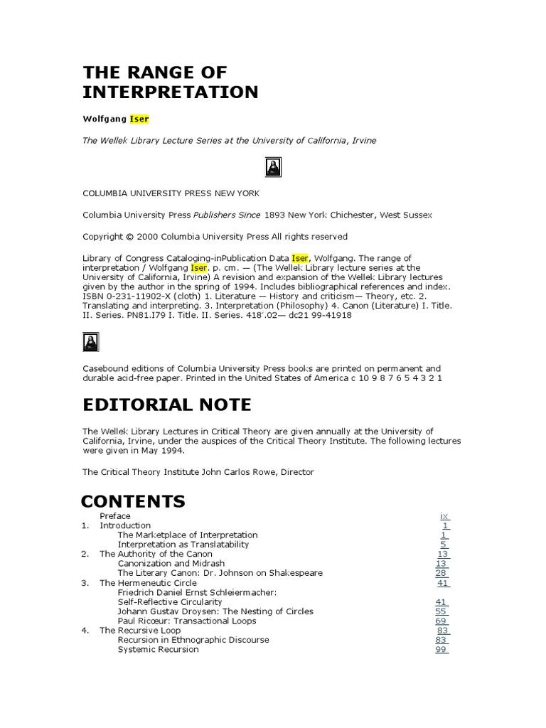 The Range of Interpretation   Literary Criticism   Interpretation  (Philosophy)