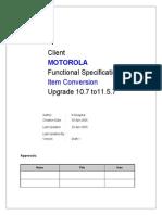 Item Conv-Functional Specs