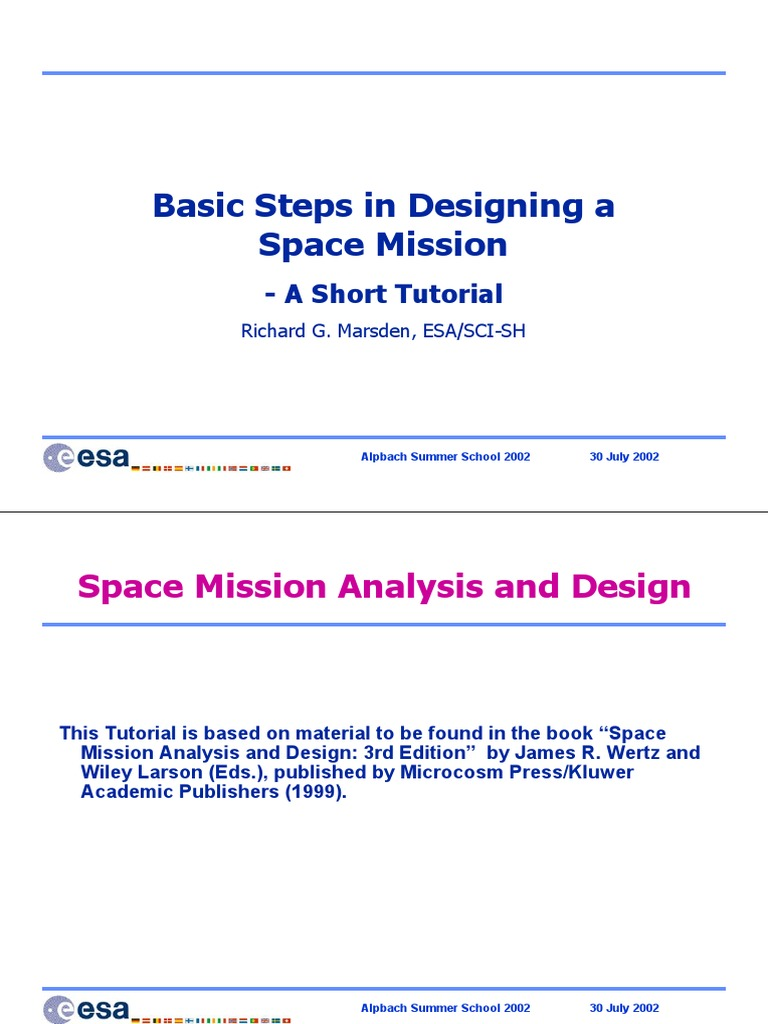Marsden-Basic Steps in Designing a Space Mission | Attitude Control