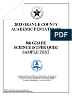 8 Science (Super Quiz) Formatted Sample Test Ans Key