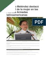 Ministra Meléndez destacó el papel de la mujer en las Fuerzas Armadas latinoamericanas