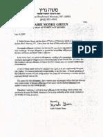 Rav Moshe Green Letter