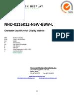Newhaven Display NHD 0216K1Z NSW BBW L Datasheet