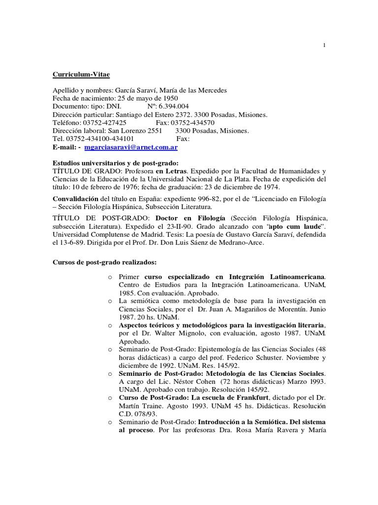 Marcedes Garcia Saravi - Curriculum Vitae