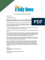 Kamloops Daily News Memo