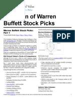 Warren Buffett Stock Picks Valuation