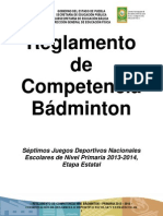 REGLAMENTO DE COMPETENCIA DE BÁDMINTON 2013-2014