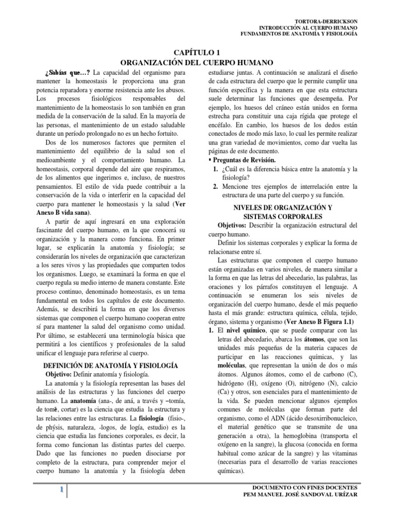 CAPÍTULO 1 ORGANIZACIÓN DEL CUERPO HUMANO